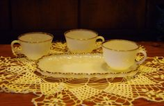 Vintage Fire King Milk Glass Cups and Snack by MeMesVintageShoppe, $30.00