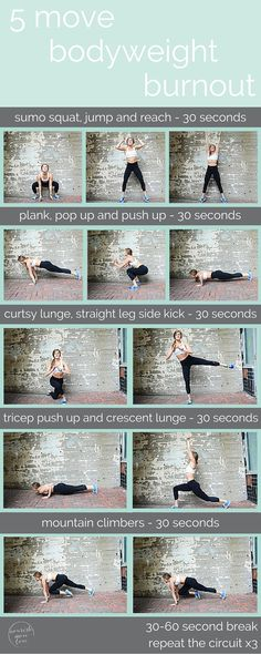 it's amazing what you can do with just your bodyweight. repeat this 5 move circuit for a 10 minute, total body burn you can do anywhere, anytime. {click for bonus video}