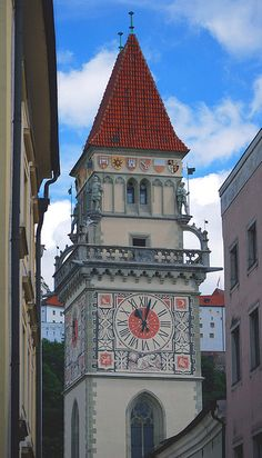 Town hall clock tower - Passau, Bavaria, Germany. For many this is the starting point for a bicycle tour along the Danube to Vienna.