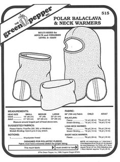Sewing Pattern - Polar Fleece Balaclava Patterns and Neck Warmer Pattern  for Both  Adults and Children- Green Pepper Patterns - GP 515