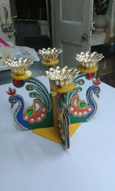 Arti Thali Decoration, Ganpati Decoration Design, Kalash Decoration, Diwali Decoration Items, Thali Decoration Ideas, Diwali Decorations At Home, Ganapati Decoration, Festival Decorations, Gauri Decoration