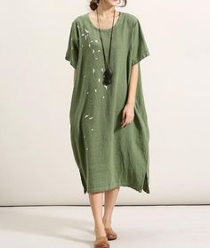 Green dress loose large size cotton and linen dress by MaLieb