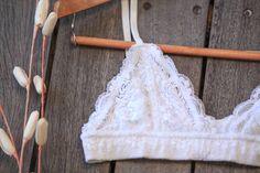 White lace bralette White Lace Bralette, Crochet Bikini, Bikinis, Swimwear, Day, Cute, Tops, Fashion, Bathing Suits
