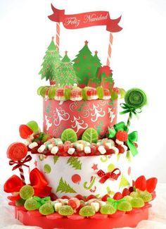 #Tarta de #chuches. Detalles navideños hechos a mano. #Navidad Chistmas Cookies, Christmas Favors, Christmas Cakes, Christmas Tree, Ideas Decoracion Navidad, Marshmallow Cake, Candy Trees, Food Art For Kids, Candy Crafts