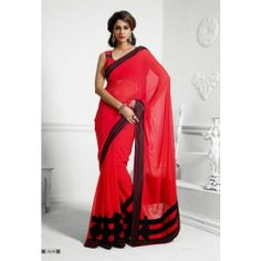 Online Shopping for Winter designer red hot saree | Georgette Sarees | Unique Indian Products by Fabiona - MFABI24977584720