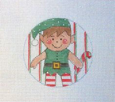 Adorable Elf Passing Out Candy Canes Handpainted by MarsyesShoppe