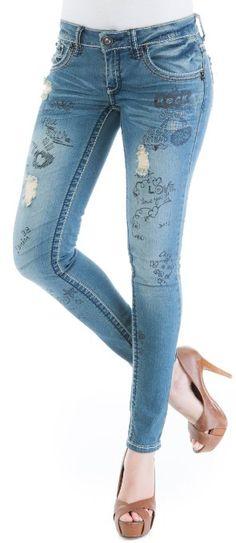 Amazon.com: Dollhouse Distressed Graffiti Skinny Jean