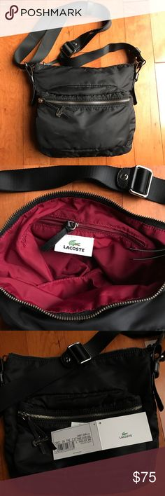 "LACOSTE Crossbody Bag Great travel and shopping bag! Lacoste black nylon Crossbody/shoulder bag. 12"" wide & 11.5""high & 4"" depth. Inside lined and has 2 slip pockets for phone and keys. Another zipped pocket. Zipper across the top and a zipped compartment on the front. Light weight and wide adjustable strap. Lacoste Bags Crossbody Bags"