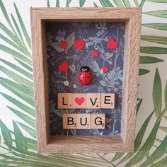 Love Bug Framed Ladybird Gift, Ladybug Scrabble Art Tile Framed Present. Show your love for someone with this unique gift idea. Scrabble Pieces Crafts, Scrabble Letter Crafts, Scrabble Tile Crafts, Scrabble Tile Wall Art, Scrabble Letters, Scrabble Ornaments, Box Frame Art, Box Frames, Frames Ideas