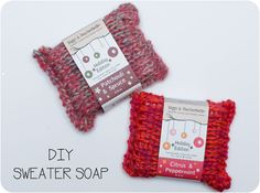 DIY Sweater Soap- buy special soaps, knit them sweaters. I like this better than felted soap bars!