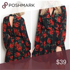 PREORDER Stunning Rose 🌹 Choker Dress! Long sleeve floral print swing dress that features a mock neckline. Dresses