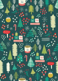 Sheet of wrapping paper. Design by Sara Brezzi Designed and printed in Italy on Crush paper by Favini. Wallpaper Kawaii, Christmas Phone Wallpaper, Holiday Wallpaper, Winter Wallpaper, Christmas Mood, Green Christmas, Christmas Design, Christmas Crafts, Christmas Wrapping