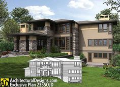 sloping lot prairie style houses house plans and walkout basement
