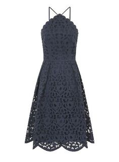 Dorothy Perkins Womens *Chi Chi London Navy Laser Cut Midi High neck laser cut midi dress with straps, scallop hem and fully lined. Wearing length is approximately 90cm. 100% Polyester. Hand wash only. http://www.MightGet.com/april-2017-1/dorothy-perkins-womens-chi-chi-london-navy-laser-cut-midi.asp