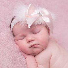 Ivory Feather & Pink Ribbon Bow Headband, Cute Cute, Girl