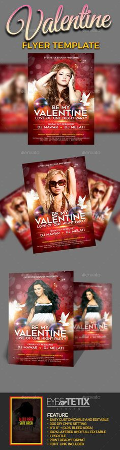 Be My Valentine Flyer #romantic #event  • Download here → https://graphicriver.net/item/be-my-valentine-flyer/19357489?ref=pxcr