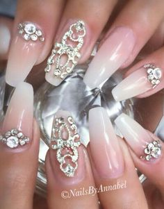 Ombre studded rhinestone nail art nails design @nails_by_annabel_m...