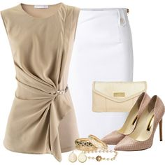 """Beige, Gold & Pearl"" by angelysty on Polyvore"