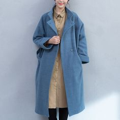 Light Blue Pocket Woolen Jacket