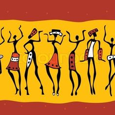African Warrior Silhouette | African women have fun dancing on a white background stock photo