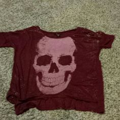 Dark red skull shirt Dark red shirt with gold accents throughout. Tops