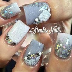 Stephanie Rochester @_stephsnails_ #grey#white#glitt...Instagram photo | Websta (Webstagram)