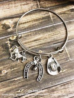 Country Expandable Bracelet, Horse Charm, Horseshoe Charm, Hat Charm, Cowgirl Jewelry, Metallic Stone, Redneck Jewelry, Cowboy Bracelet