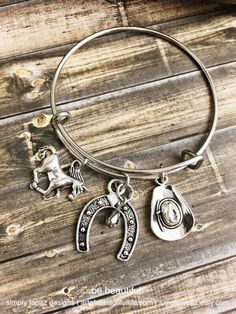 Country Expandable Bracelet, Horse Charm, Horseshoe Charm, Hat Charm, Cowgirl Jewelry, Metallic Stone, Redneck Jewelry, Cowboy Bracelet