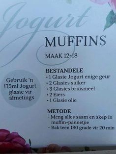 X Tart Recipes, Sweet Recipes, Baking Recipes, Cookie Recipes, Bread Recipes, Kos, Yogurt Muffins, 5 Ingredient Recipes, South African Recipes