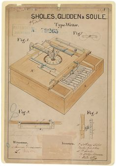 s Drawing for a Typewriter, In C. Lantham Sholes, Carlos Glidden, and Samuel W. Soule received a patent for their improved type-writing machine. In their application, they wrote that. Writing Machine, Patent Drawing, Drawing Drawing, Today In History, National Archives, Personalized Books, Patent Prints, Vintage Ephemera, Writing