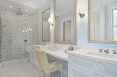 Suzie: Cardea Building Co. - Chic master bathroom with Restoration Hardware Wilshire Single ...