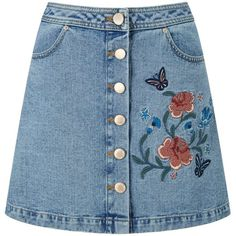 Miss Selfridge Floral Embroidered Denim Skirt ($61) ❤ liked on Polyvore featuring skirts, mid wash denim, miss selfridge, blue skirt, denim skirt, knee length denim skirt and blue denim skirt