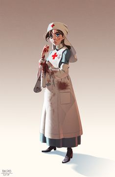"""Here is my entry for the characterdesignchallenge of this month """"nurse and doctors"""". I really wanted to pay tribute to those who have served during the great war. So i came up with this idea of make an english nurse. Character Drawing, Character Concept, Concept Art, Character Design, Nurse Drawing, Doctor Drawing, Guerra Anime, Ww1 Art, Medical Photos"""