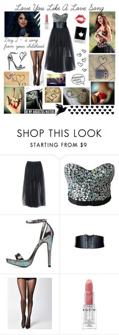 """""""Day 2 - Love You Like A Love Song - Selena Gomez"""" by jetblackheart2020 ❤ liked on Polyvore featuring Charlotte Russe, Leg Avenue, Rodin, Polaroid and Love Quotes Scarves"""