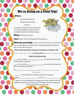 Field Trip Permission Form- Editable