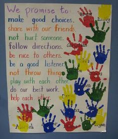 """Teacher Discover Constitution Day Activities Our Promise To Each Other - Social Contract. To make it official students put their """"I promise"""" hand print on the poster. Older students could also sign their hand. 1st Day Of School, Beginning Of The School Year, Back To School Art, Back To School Crafts, School Play, Art School, Sunday School, Middle School, High School"""