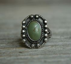 Old Pawn Fred Harvey Era Turquoise Native American Sterling Silver Ring size 9