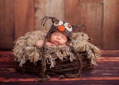 Newborn Baby Owl  Hat -  Great Details and Textured Mohair Blend Yarn with Button Eyes. $25.00, via Etsy.
