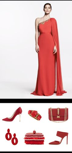 Passion Speaks: Shop Color Story #Red #Marchesa evening gown