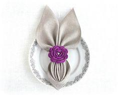 Purple flower napkin holder Easter napkin rings Floral table decorations Crochet scraf slider Set of 2 Thanksgiving table decor
