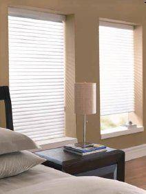 Horizontal window shades offer flexibility.