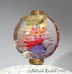 Art bead Lampwork lentil shape focal bead42mm door AstridRiedel, I really MUST figure out how this was done