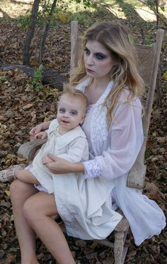 Mother Daughter Ghost Halloween Costume made from antique baby dress and robe, antique baby shoes and 1950's nightgown. All natural baby safe Halloween makeup from Terra Firma Cosmetics.