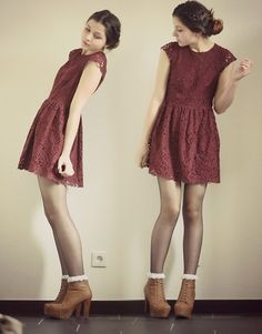 Love this whole outfit- dress, tights, socks, and booties
