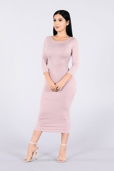 - Available in Mauve and Black - Long Sleeve - Low Back - Mid Sleeve - Mini Dress - Scoop Back Detail - 95% Rayon 5% Spandex