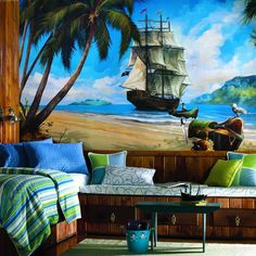 Pirates Mural $225 What a great backdrop for a nautical room!