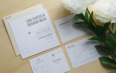 Letterpress wedding invitations with champagne envelope #travel #invitations #wedding #stationery