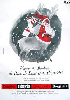 vintage christmas santa ad french