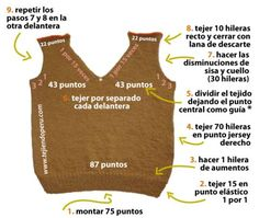 Tutorial: chaleco para niños en dos agujas o palillos - Bebé - Crochet Stitches Patterns, Knitting Stitches, Knitting Patterns Free, Knitting For Kids, Baby Knitting, Crochet Hood, Knit In The Round, Baby Cardigan, Knit Vest