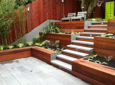 terrace garden 20 Terraced Planter Ideas to Add More Visual Appeal to Your Landscape Sloped Backyard, Sloped Garden, Small Backyard Gardens, Modern Backyard, Backyard Garden Design, Terrace Garden, Backyard Patio, Backyard Landscaping, Landscaping Ideas